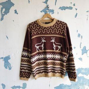 Vintage Puritan Brown Tan Reindeer Fall Sweater